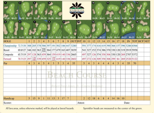 Waikoloa Beach Course Score Card